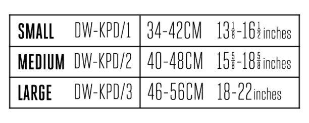 Kneepads 2020 size guide